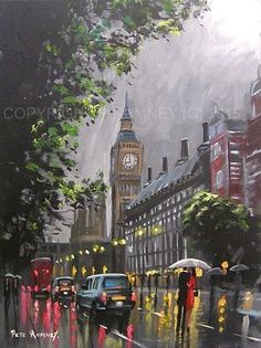 PETE RUMNEY FINE ART MODERN ACRYLIC OIL ORIGINAL PAINTING LONDON TAXI BIG BEN NR in Art, Artists (Self-Representing), Paintings | eBay