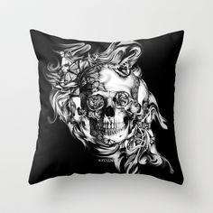 Butterfly smoke skull on black base.  Throw Pillow by Kristy Patterson Design - $20.00 #tattoostyleskull, #butterflyskull, #skull, #smokeskull, #rosesandskull, #skullandroses, #roseskullpillow
