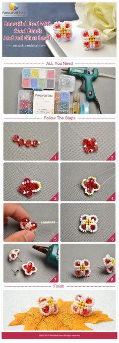 "Pandahall Elite DIY beautiful stud with seed beads and red glass beads ""DIY beautiful stud with Pandahall Elite seed beads and red glass beads"", ""Panda"