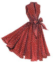 "Georgina's Sunset Polka Dot Dress from J. Peterman. ""'Go explore the old town,' she said. (Her euphemism for 'get lost for a while.')"""