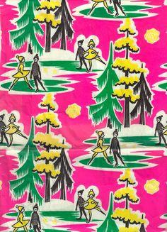 kuriosas: 1950s winter wrapping paper