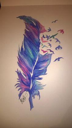 'Breaking Free'  5 minute pencil drawing #feathers #easydrawings #art