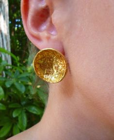 Big Earrings, Round Earrings, Great Teacher Gifts, Gifts For Mom, Artisan & Artist, Unique Gifts For Women, Bride Gifts, 18k Rose Gold, Gold Studs