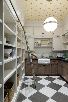 Amazing butler pantry with checkered floors and wallpapered ceilings! French Moderne Manor - Alice Lane Home Interior Design Wallpaper Ceiling, Of Wallpaper, Wallpaper Ideas, Kitchen Wallpaper, Trendy Wallpaper, French Interior, Modern Interior, Pantry Design, Kitchen Design