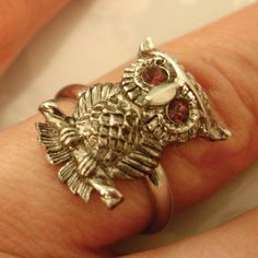 vintage Sarah Coventry silver owl with amethyst by smallandmousey, $24.00