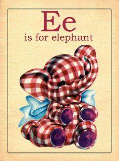 The Letter E Vintage Alphabet Flash Card