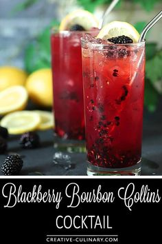 The Blackberry Bourbon Collins cocktail could be the mainstay of your warm weather drinking; it's a simple blend of blackberries, bourbon, simple syrup and lemon; change the fruit to whatever is freshest and mix it up all summer long! via @creativculinary