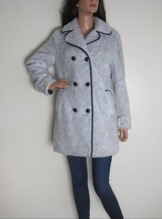 Vintage 1970s Grey Faux Fur Double Breasted Long Line Mod Coat available to buy online at Virtual Vintage Clothing