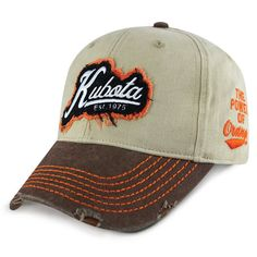 Kubota Ol'boy Distressed Velcro Back Cap Landscaping Equipment, Lawn Equipment, Snow Removal Equipment, Kubota, Ol, Baseball Hats, Clothing, Baseball Caps, Outfits Fo
