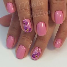 Beautiful nails 2016, Beautiful summer nails, Feminine nails, flower nail art, Gentle shellac nails, Medium nails, Pastel nails, Pink gel polish