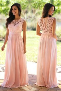 Pink Sleeveless Lace Chiffon Evening Dresses Prom Dresses PG339