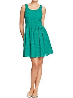 Great teal eyelet dress would be perfect paired with coral accessories and a little jacket or ivory trench Womens Mixed-Eyelet Dresses | Old Navy