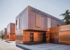 LCR Architectes clads French middle school with tarnished copper panels l Contemporary architecture building Architecture Metal, Minimalist Architecture, Amazing Architecture, Contemporary Architecture, Chinese Architecture, Architecture Office, Futuristic Architecture, Landscape Architecture, Landscape Design