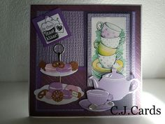 Tea Party Crafts, Craft Party, Cuppa Joe, Tea Cocktails, Tea Party Invitations, Coffee Cards, Marianne Design, High Tea, Cardmaking