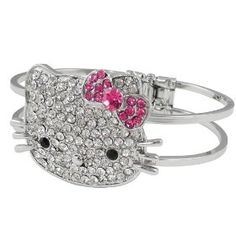 Hello Kitty Bangle Bracelet with Large Crystal Kitty Face and Pink Bow
