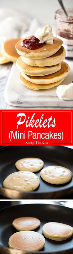 Perfect Easy Pikelets- Easy and fast to make, these are sure to become a fami. Crepes And Waffles, Pancakes And Waffles, Scotch Pancakes, Brunch, Recipetin Eats, Recipe Tin, Beignets, Galette, Dessert Recipes