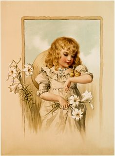 Lovely Girl with Chicks Image! - The Graphics Fairy