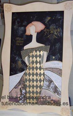 Cuadro de la firma Dayka Trade realizado con pintura decorativa artis, stencil, papeles de decoupage y estuco liso.
