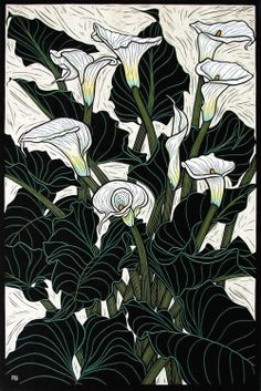Arum Lily74.5 x 50 cm  Edition of 50Hand coloured linocut on handmade  Japanese paper.  Rachel Newling.