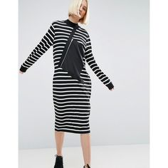 ASOS WHITE Stripe Sweater Dress With Zip Pocket Detail ($70) ❤ liked on Polyvore featuring dresses, multi, long sleeve dresses, asos, sweater dress, striped sweater dress and long sleeve sweater dress