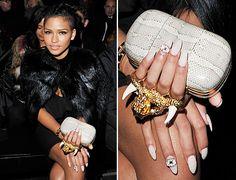Photo:Getty Images Eyeball Nail Art Cassie front row 2012 Paris Fashion Week.
