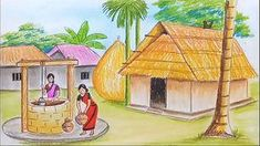 How to draw a scenery of take water from the well . Landscape Drawing For Kids, Car Drawing Kids, Scenery Drawing For Kids, Landscape Drawing Tutorial, Landscape Pencil Drawings, Nature Drawing, Art Drawings For Kids, Easy Drawings, Drawing Rain