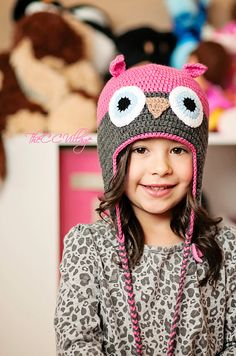 Pink Crochet Owl Hat for baby girl Grey earflap by TheCCVillage, £10.00