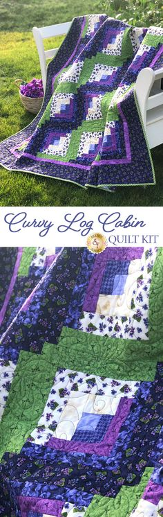 """Curvy Log Cabin Quilt Pattern Create a gorgeous quilt using the well loved log cabin block with a twist in the Curvy Log Cabin Quilt! The blocks are built in a very similar fashion to traditional log cabin blocks, however in the curvy log cabin blocks one side of the """"logs"""" are slightly larger than the other giving the quilt a curvy illusion. This quilt measures approximately 62"""" x 72""""."""