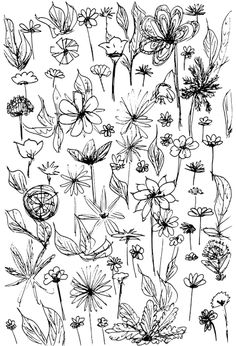 free printable flower doodle fun page – coloring page – Blumenmuster | MeinLilaPark