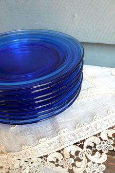 $52 Vintage Hazel Atlas Plates - Cobalt Blue (8)