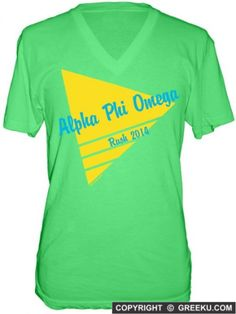 Alpha Phi Omega Striped Triangle Neon Poly-Cotton V-neck