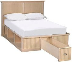 """Available in maple  or oak, with federal crown or face frame crown moulding. Bed comes with 1 footbard or 1 foot cubby, 2 side cubbies, a 3/4"""" lip on foot and sides, and is fully customizable. Shown with bead panel footboard with drawer and headboard (headboard sold separately). Available in the following sizes:Twin, Long Twin,Full, Queen, King, California King Customize cubbies using the following options (sold separately): Baskets,Doors,Drawers,Roll-out Shelf,Roll-out Tray,Half Drawers"""