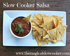 slow cooker salsa. I've made this twice and everyone keeps asking for the recipe! It taste better than the restaurants!