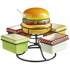 Hamburger Condiment Spinner for 24.95$ at Pier 1... This is amazing, and how cute! Perfect for a backyard BBQ party!