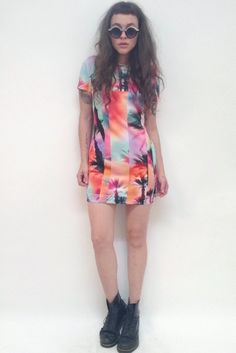 Holographic palm mini dress by Hi! Expectation. Made in USA.