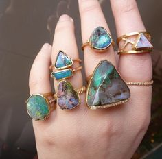 """mineraliety: """"Opal Overload ////// amazing magical #opal #rings by Brooke Gregson ///////// #whyiloveminerals www.mineraliety.com """""""