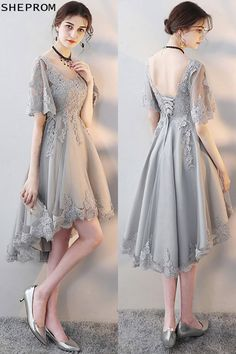 Elegant Grey Lace Homecoming Party Dress with Lace Sleeves at - Trendy Dresses Trendy Dresses, Elegant Dresses, Beautiful Dresses, Short Dresses, Fashion Dresses, Formal Dresses, Lace Sleeves, Dresses With Sleeves, Homecoming Dresses