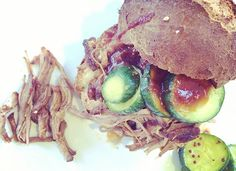 This recipe makes sweet, smoky, falling apart piece of meat that doesn't require any refined sugar. Slather on the sauce and serve on our gluten-free buns with our bread + butter pickles. Detox Recipes, Healthy Recipes, Gluten Free Buns, Lean Cuisine, Pulled Pork Recipes, Dinner Is Served, Slow Food, Butter Pickles, Salmon Burgers