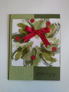 My Ninth Annual Christmas Cards is Coming! See the samples here! : the Virtual Stamp Pad Work of Art Christmas Wreath Card.  Good Greetings stamp set.