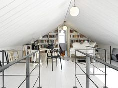 "Proof that even a tight attic space can be converted nicely for office or spare room use. > From ""30 Creative Home Office Ideas: Working from Home in Style"""