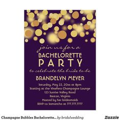 Champagne Bubbles Bachelorette Party Invitations