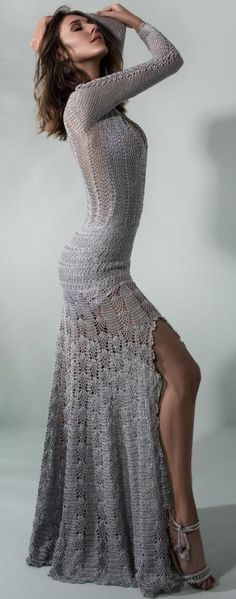 Giovana Dias grey crochet dress