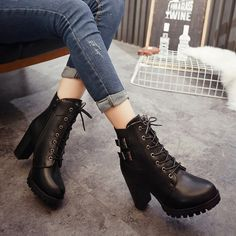 This is your essential causal style boots, cool and personality. Highlight classic lace up style, belt buckle, side zipper and cool outline. This classic boots can show your feet slender backbone, mak