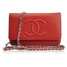 New Chanel Red Caviar Timeless CC Leather Wallet On Chain Handbag