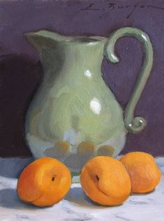 Green Pitcher with Apricots by Edward Burton