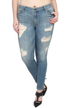 TheMogan Women's Vintage Large Ripped & Distressed Skinny Jeans Medium 3XL. Low rise. Fade wash with destroyed detailing. Five pocket styling. Stretch for comfort. 98% cotton, 2% spandex.