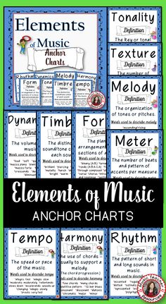 ELEMENTS of MUSIC Anchor Charts with Heading Letters for your Music Bulletin Board! ♫ CLICK through to preview or save for later! ♫