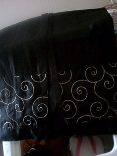 """2 Black with embroidery Window sheer Curtain (40"""" W X 84"""" L) #Novelty"""