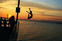 Sunset jump at Crescent Beach Beautiful Ocean, Most Beautiful, Jumping For Joy, Surrey, Atlantis, British Columbia, Summer Fun, Silhouettes, Scenery