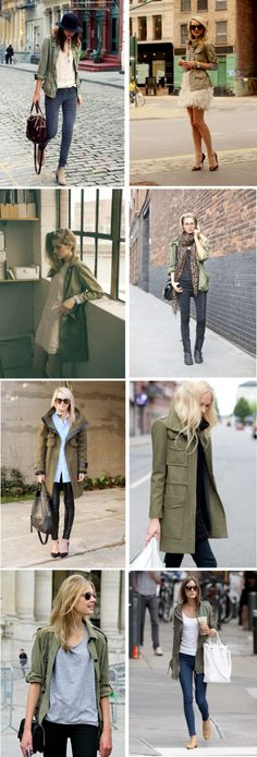 Military style jackets just seem to go with any look; from a white tee to a party dress! Winter Fashion Outfits, Fall Winter Outfits, Autumn Fashion, Fashion Ideas, Classic Outfits, Cute Outfits, Classic Clothes, Parka Outfit, Military Style Jackets